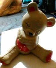 TEDDY BEAR FIGURE Ceramic Sleepy Brown Bear Cub Figurine SHELF-SITTER