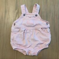 OshKosh Vintage Striped Bubble Romper Overalls Baby Infant Size 6-9 Months