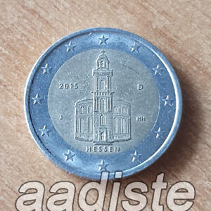 2 EURO 2015 GERMANIA GERMANY ALLEMAGNE ALEMANIA - HESSEN LETTERA J - CIRC