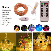 5-10M 50~100LED String Copper Wire Fairy Light Battery USB Xmas Party Decor Lamp