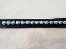 Black Leather Bracelet w/ Swarovski Light Blue Pearls and Blue Crystal Rondells