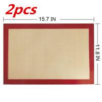 2 PCS Non-Stick Silicone Oven Sheet Baking Liner Mat Set Heat Resistant BPA Tool