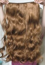 "ginger red brown 5 clips one piece wavy curly 22"" long clip in on hair extension"