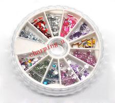1pz Ruote nail art unghie brillantini misti perline  Acrylic strass decorazione