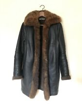 Balenciaga Ghesquiere Dark Brown Lambskin Shearling Fur Leather Coat FR40
