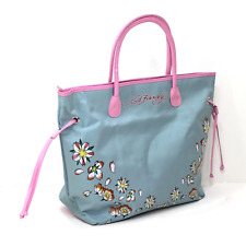 ED HARDY Women's Tote Bag Pale Blue Shopper Shoulder Beach Zip Bag