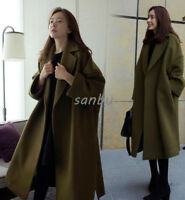 Chic Women Winter Wool Parka Korean Lapel Loose Oversize Long Trench Coat Jacket