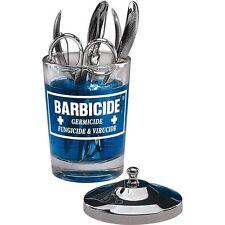 Barbicide Döschen Glas mit Edelstahl Deckel Maniküre Werkzeuge Tisch NEU