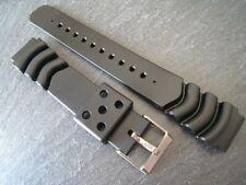 Extra long Black Rubber/Plastic watch strap. 18mm, 20mm & 22mm. Steel buckle