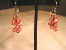 Dangle thype earrings Fashion clear & irridescent beads with Fish Hook hangers