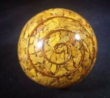 LARGE (60-70mm) YELLOW JASPER ORGONE GEMSTONE SPHERE ORGONITE SPHERE