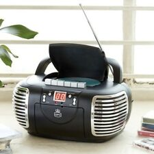 GPO Portable CD & Cassette Player with AM FM Radio - Black - Mains or Battery