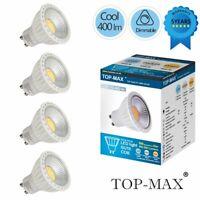 4x COB GU10 LED Bombilla Lámpara luz regulable 6000k Blanco Light Bulb 400LM Nue