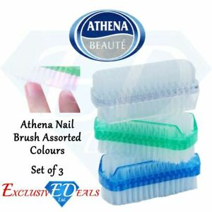 3 x Athena Nail Brush Manicure Pedicure Scrubbing Cleaning Assorted Colours