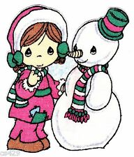 "3.5"" PRECIOUS MOMENTS CHRISTMAS SNOWMAN GIRL CHARACTER FABRIC APPLIQUE IRON ON"