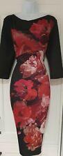Womens Per Una Black Wine Floral Draped Neck Stretch Scuba Bodycon Dress 14 New.