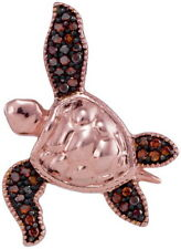 0.1 Ctw Red Colored Diamond Sea Turtle Tortoise Pendant 10K Rose Gol. Lot 6439