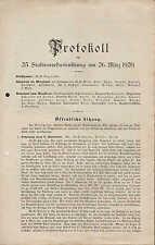 KASSEL, Protokoll 1920, Stadtverordnetensitzung am 26. März öffentliche Sitzung