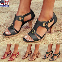 Women Vintage High Heel Shoes Sandals Ladies Summer Party Ankle Strap Shoes Size