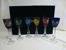 6 Faberge Odessa Crystal Multi Color Cut To Clear Liquor Cocktail Goblets & Box