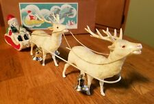 "Antique1020/134 Celluloid Santa Sled & Reindeer in Box - ""Made in Japan"""