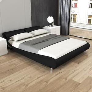Queen Size Modern Bed Espress Bonded Leather Platform Bed Wooden Slats Black