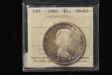 1963 Canada. 1$  Dollar. Voyageur. ICCS Graded MS-63  (XKD030)