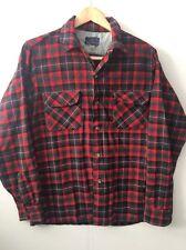Vintage Pendleton Board Shirt 100% Virgin Wool Medium M Plaid Loop Collar