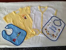 BNIP Baby Boy 0 Cute Lemon/White Short Romper Suits & 2 Bonus Plastic Back Bibs