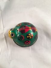 Vintage Old Ladybug Friction Tin Metal Small Toy Green Red Made in Japan 1950s?