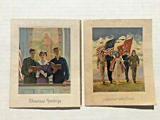 2 1940's  WWII era Christmas Cards Unused