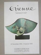 Affiche originale ETIENNE 94 Sculpture Adam et Eve Pomme Etienne Pirot Grenoble
