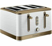 RUSSELL HOBBS Inspire Luxe 24386 4-Slice Toaster- White & Brass