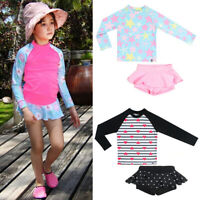 Kids Girls Rash Guard Long Sleeve Tops Ruffles Pants Swim Beachwear Outfits Set