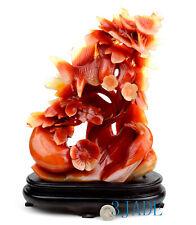 Red Carnelian / Agate Carving/Sculpture: Birds & Flower