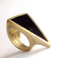 Men's Women's Black Gold Triangle Minimalist Retro Jewelry Statement Ring 8.5 9