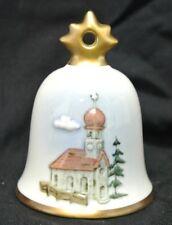 1993 Goebel Hummel Annual Christmas Bell Ornament White with Gold Church Scene