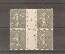 TIMBRE FRANCE FRANKREICH 1917 N°130c NEUF** MNH BLOC 4 MILLESIME 7