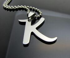Hot letter K 1pcs Women/ Men's Silver 316L Stainless Steel  Pendant Necklace