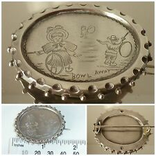 Victorian Kate Greenaway Brooch Pin Bowl Away Hoop Stick Rolling Trundling Game