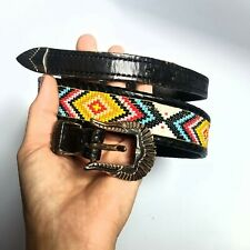 Handmade Beaded Leather Belt seed Bead Appaloosa Durango Vtg Western 32' Native