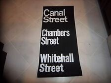 VINTAGE NYC SUBWAY ROLL SIGN CANAL STREET CHAMBERS FINANCIAL DISTRICT WHITEHALL