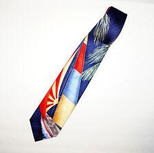 Nautical Neck Tie Sailboat Rising Sun 100% Silk Handmade Navy Blue Maroon Gold