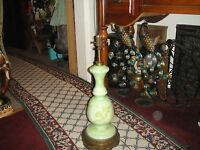 Antique Art Deco Table Lamp Kiwi Lime Green Gold Butterflies Flowers Ormolu