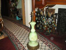 Antique Art Deco Table Lamp-Kiwi Lime Green-Gold Butterflies & Flowers-Ormolu