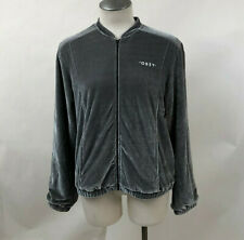 Obey Women's Velvet Bomber Jacket Love Chain Grey Size S NWT Shepard Fairey
