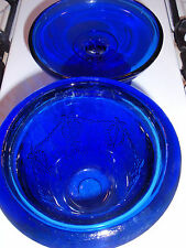 TWO SEPARATE PIECES OF COBALT BLUE GLASS VASE AND FOOTED DISH