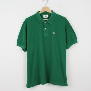 D97 Vtg Lacoste Polo Mens Green Short Sleeve Cotton Shirt Size 7 XXL