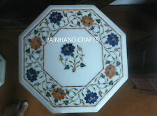 "Size 18"" Marble Malachite Dining Coffee Side Table Top Mosaic Lapis Inlay Flower"