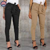 Women High Waist Harem Pants Women Bandage Elastic Waist Casual Long Trousers US